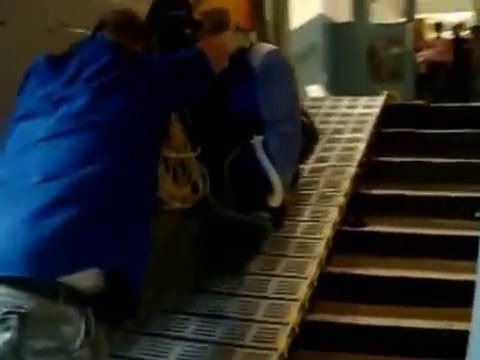 Roll A Ramp® Used To Move Heavy Floor Cleaning Machine Up A Flight Of Stairs .