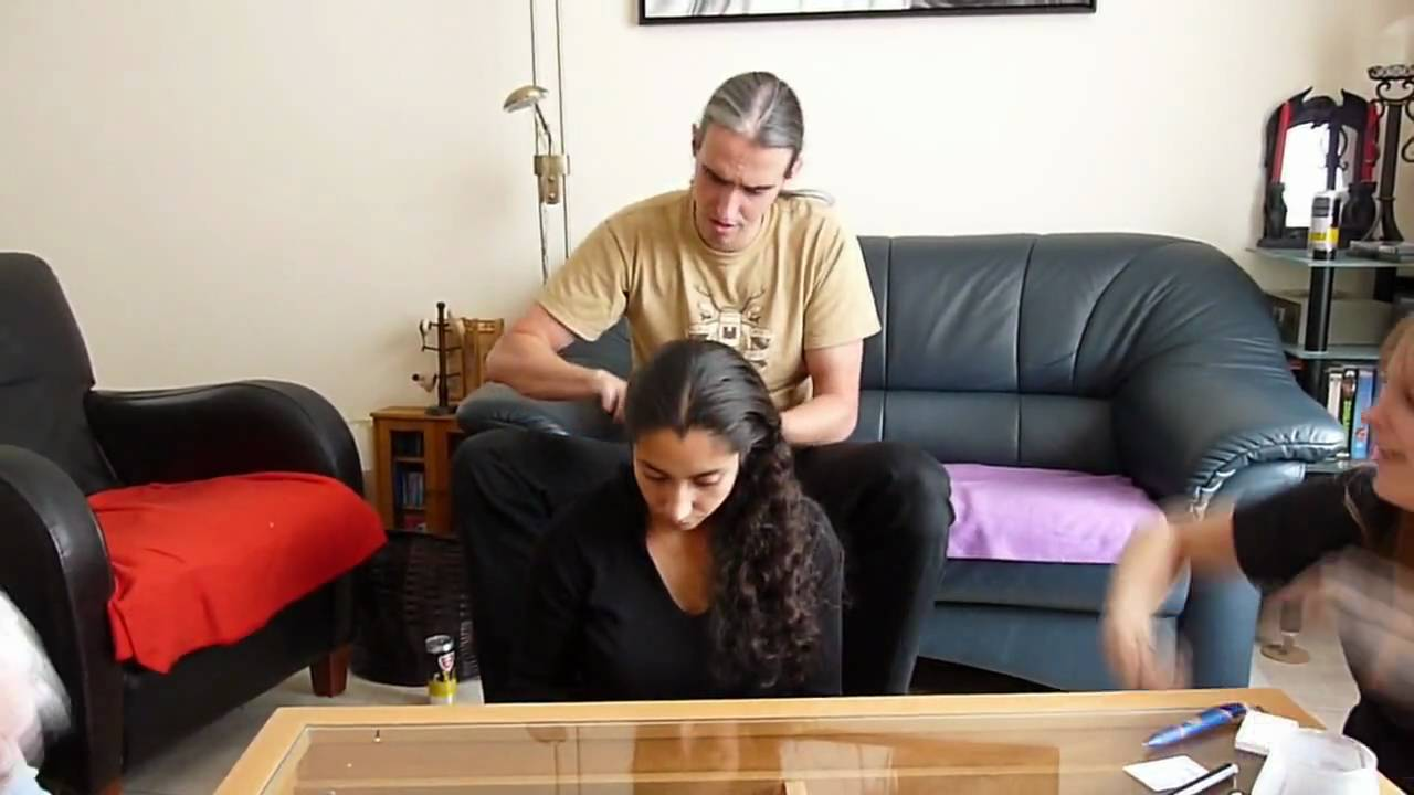 How a guy french braids a girl's hair - YouTube