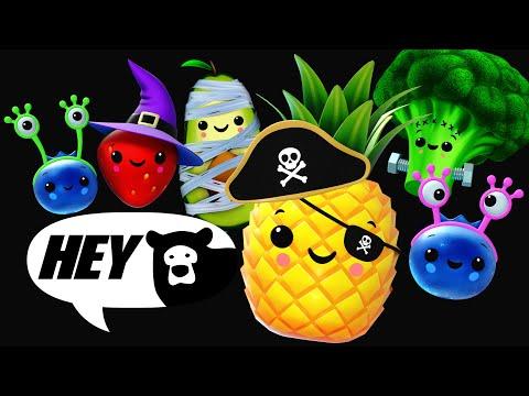 Hey Bear Sensory - Halloween Dance Party! Fruit and Veggie Dress up fun!