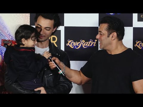 Salman Khan's Fun Moments With Nephew Aahil At Loveratri Trailer Luanch