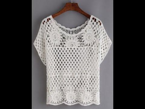 59b094eabca52 Tığ İşi dantel Örgü Bluz Örnekleri & Crochet - YouTube