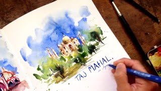 Taj Mahal Watercolor Demo