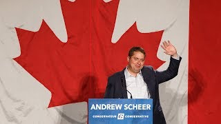 Scheer gives election style speech to supporters in Sherwood Park