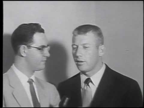 Len Morton talks to Mickey Mantle after MVP & World Series season  1956.wmv