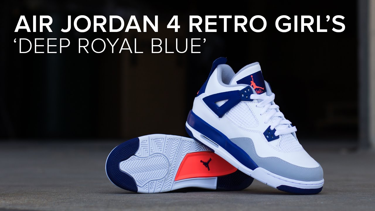 Air Jordan 4 Retro Girl s  Deep Royal Blue  Quick Review - YouTube 7a9af5527