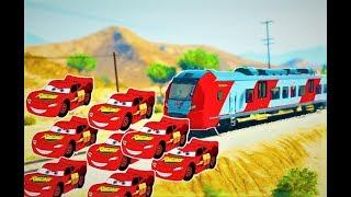Çocuklar için TRENLER Şimşek MCQueen Arabalar | Tekerlemeler şarkı ile | Tren Bela Çizgi film Çizgi film