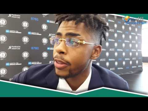D'Angelo Russell and Timofey Mozgov Meet New York Media | What's The 411Sports | Brooklyn Nets