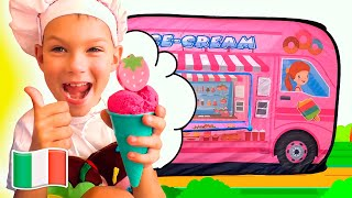 Cinque Bambini giocano con il camion dei gelati.  Video e giochi per bambini