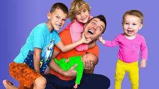 Papa left Alone with FOUR KIDS  Video for kids