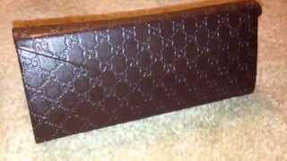 """New Gucci Brown Folding Sunglasses Case"""