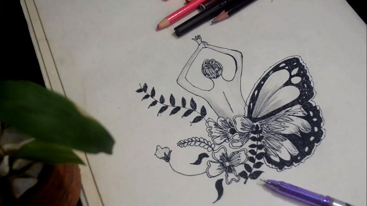 How to draw a Girl with Butterfly wings for beginners     Easy Butterfly and Flower drawing.