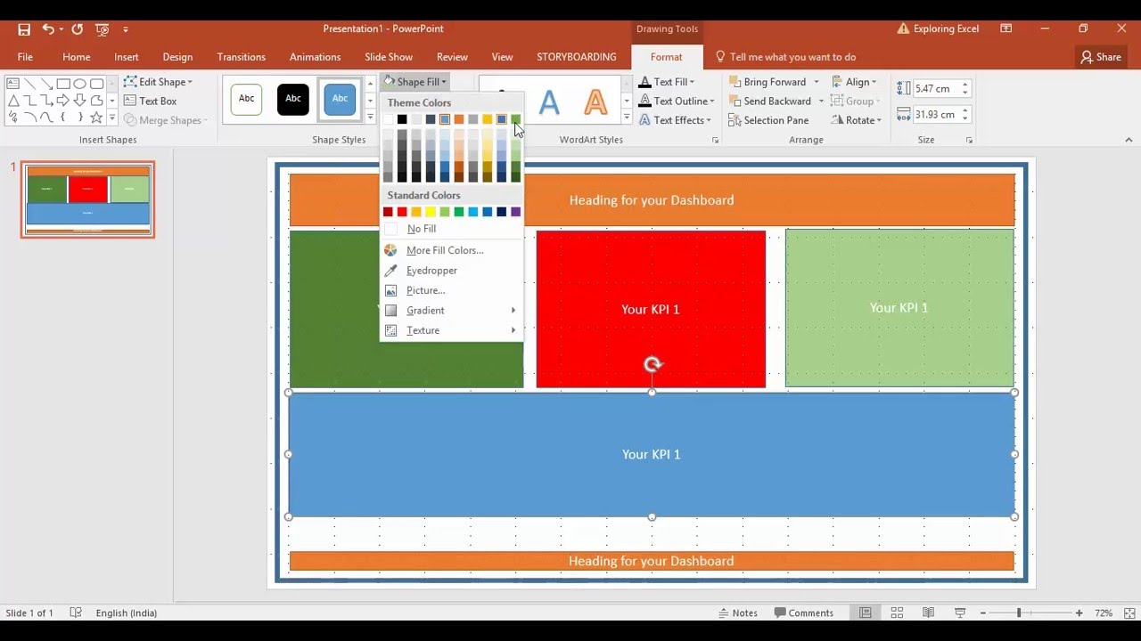 create a first excel dashboard mockup using powerpoint