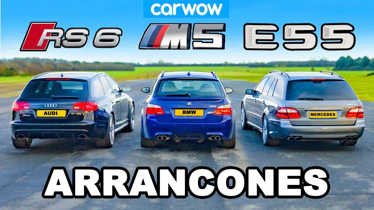 BMW M5 V10 vs AMG E55 vs Audi RS6: ARRANCONES *Atmos vs Turbo vs Supercargado*