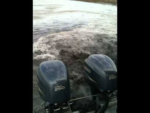 8 new Yamaha 250s' on 100 ft aluminum flat work barge. PART 3
