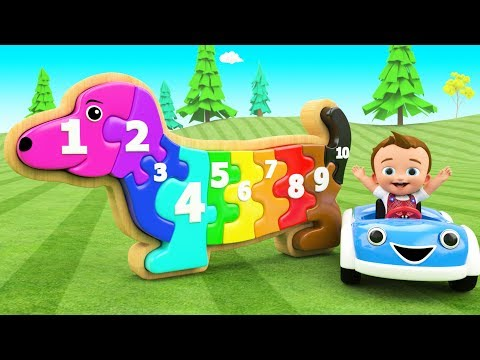 Dog Wooden Puzzle Toy Set 3D - Little Baby Fun Learning Colors & Numbers For Children Kids Education