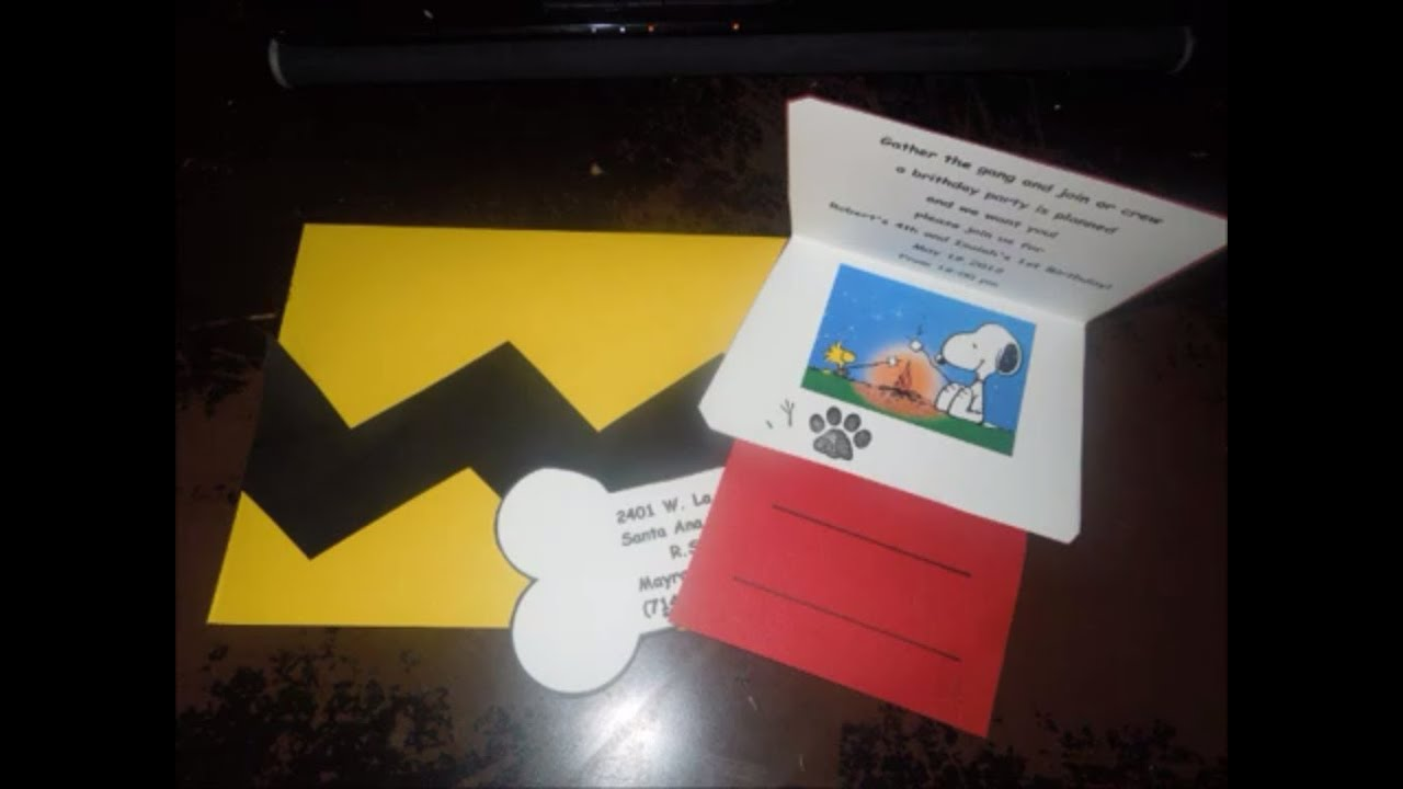 DIY Snoopy Invitations YouTube – Snoopy Party Invitations