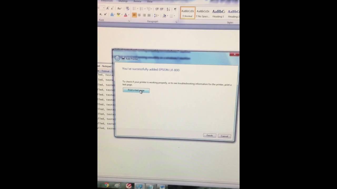 Epson lx-800 on a windows 7 youtube.
