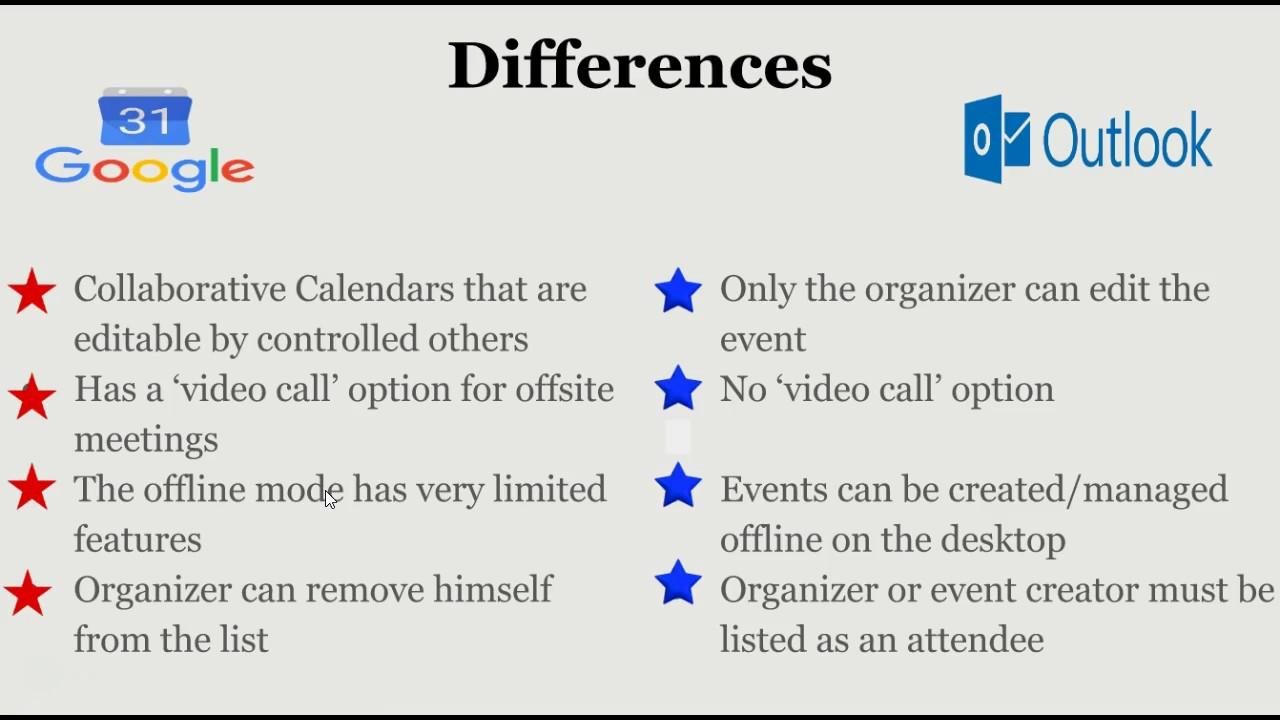 google vs outlook calendars youtube