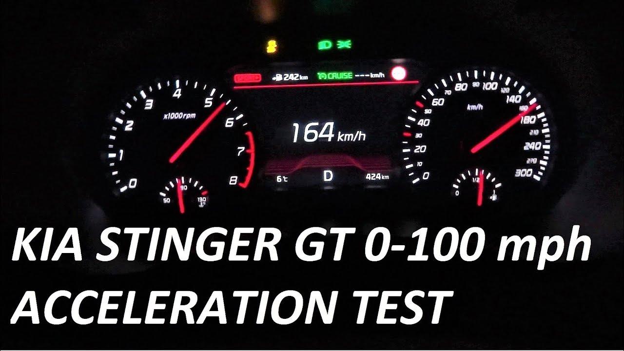 2018 KIA Stinger GT 3.3 V6 AWD Acceleration Test 0-100 mph 0-160 km/h