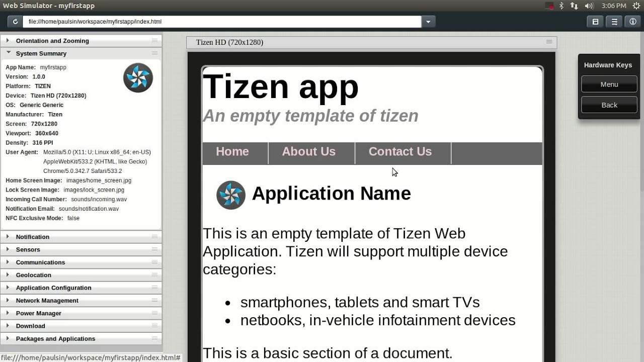 How To Create A Simple Tizen Web Application Create Your First Tizen App Youtube