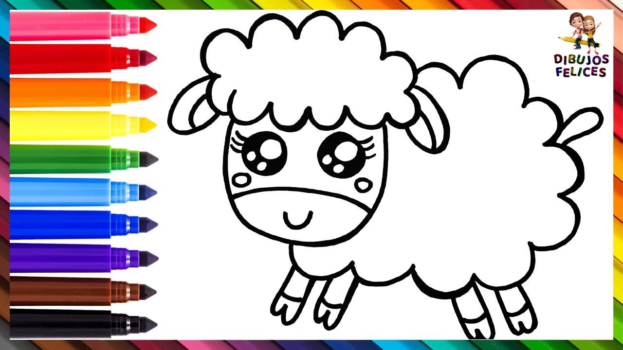 Cómo Dibujar Una Oveja 🐑 Dibuja y Colorea Una Linda Oveja Arcoiris 🌈 Dibujos Para Niños