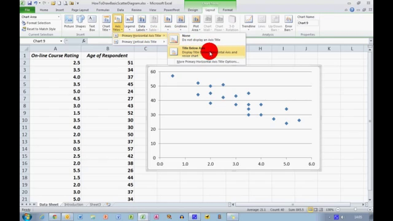 How to draw a basic scatter diagram in excel 2010 youtube draw a basic scatter diagram in excel 2010 ccuart Images