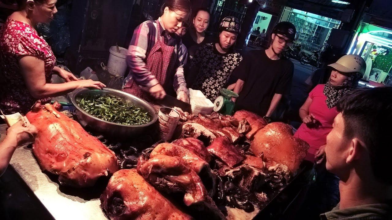 Ẩm thực đường phố - Lạ lùng chị chủ quán lợn quay chặt không ngớt tay