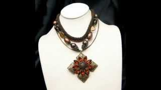 Chicos Vintage Rhinestone Maltese Cross Necklace Chunky Glass Beads Multi Strand