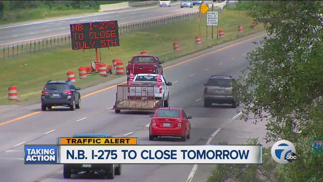 Northbound I-275 closing between I-96/I-696/M-5 and I-96/M-14 on Tuesday
