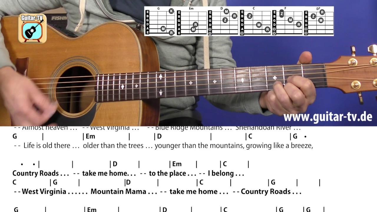 201 Country Roads John Denver Cover Tutorial Guitar Chords