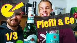 Pfeffi (Pfefferminzlikör) Vergleich: Berliner Luft, Nordbrand (Goldene Aue), Lütje Minze, Minttu