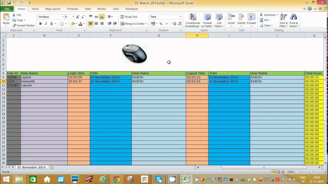 employee time tracker excel