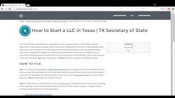How to Start a LLC in Texas | TX Secretary of State