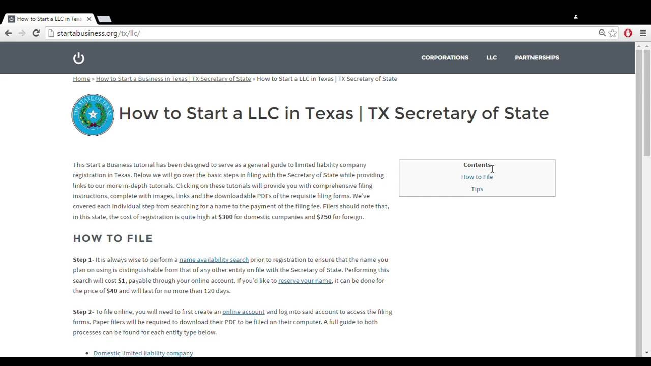 How to Start a LLC in Texas | TX Secretary of State - YouTube
