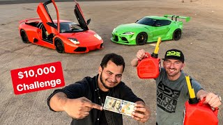 DRIVING TILL YOU RUN OUT OF GAS CHALLENGE! LAMBO VS SUPRA #2