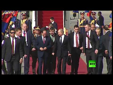 لحظة استقبال السيسي لبوتين في القاهرة