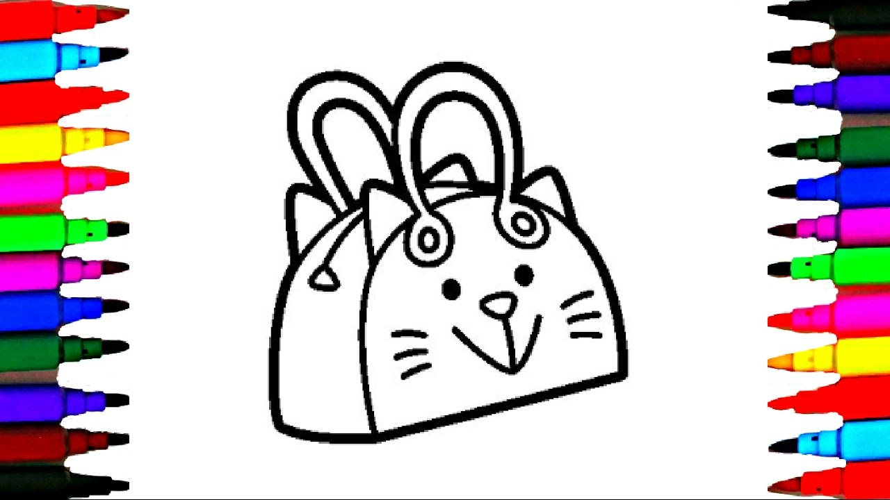 Hello Kitty Butterfly Coloring Pages : How to draw and color kitty bag l handbag for kids coloring pages