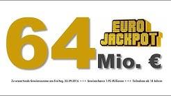 Eurojackpot 23.09.2016: 64 Mio. € - Viertgrößter Jackpot lockt