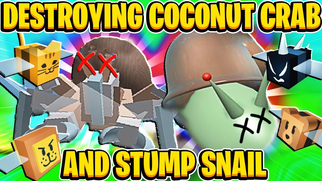 Destroying Stump Snail And Coconut Crab In Roblox Bee Swarm