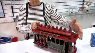 Red Metal Trolley Hanukkah Menorah