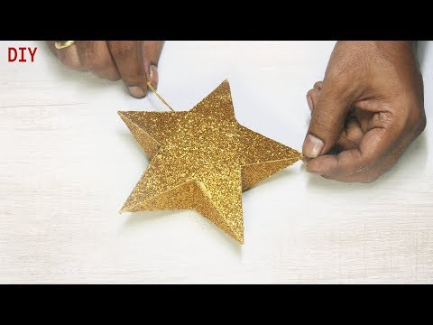 How To Make Star   Easily With Waste Paper Box   Sparkling Star Making   Christmas Star Diy