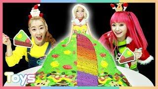 초대형 바비 인형으로 대형 크리스마스 트리 케이크 만들기 놀이ㅣ캐리와장난감친구들