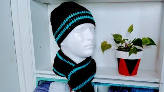 (1PARTE)JUEGO DE GORRO Y BUFANDA PARA HOMBRE A CROCHET FACIL Y RAPIDO  HAT AND SCARF SET FOR MEN
