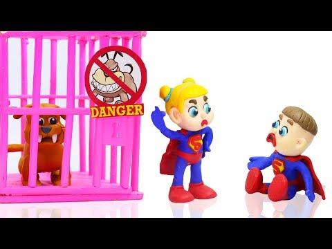 SUPERMAN BABIES STOPS WILD DOG 💖 Stop Motion Cartoons Animation