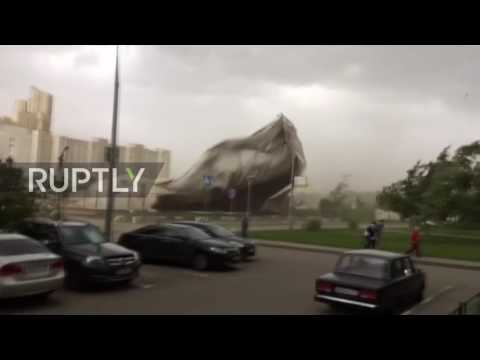Russia: Storm winds destroy inflatable tennis court roof in