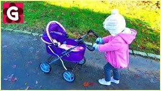Gaby Pushing Masha Baby Doll in a Pram and having fun at the Park