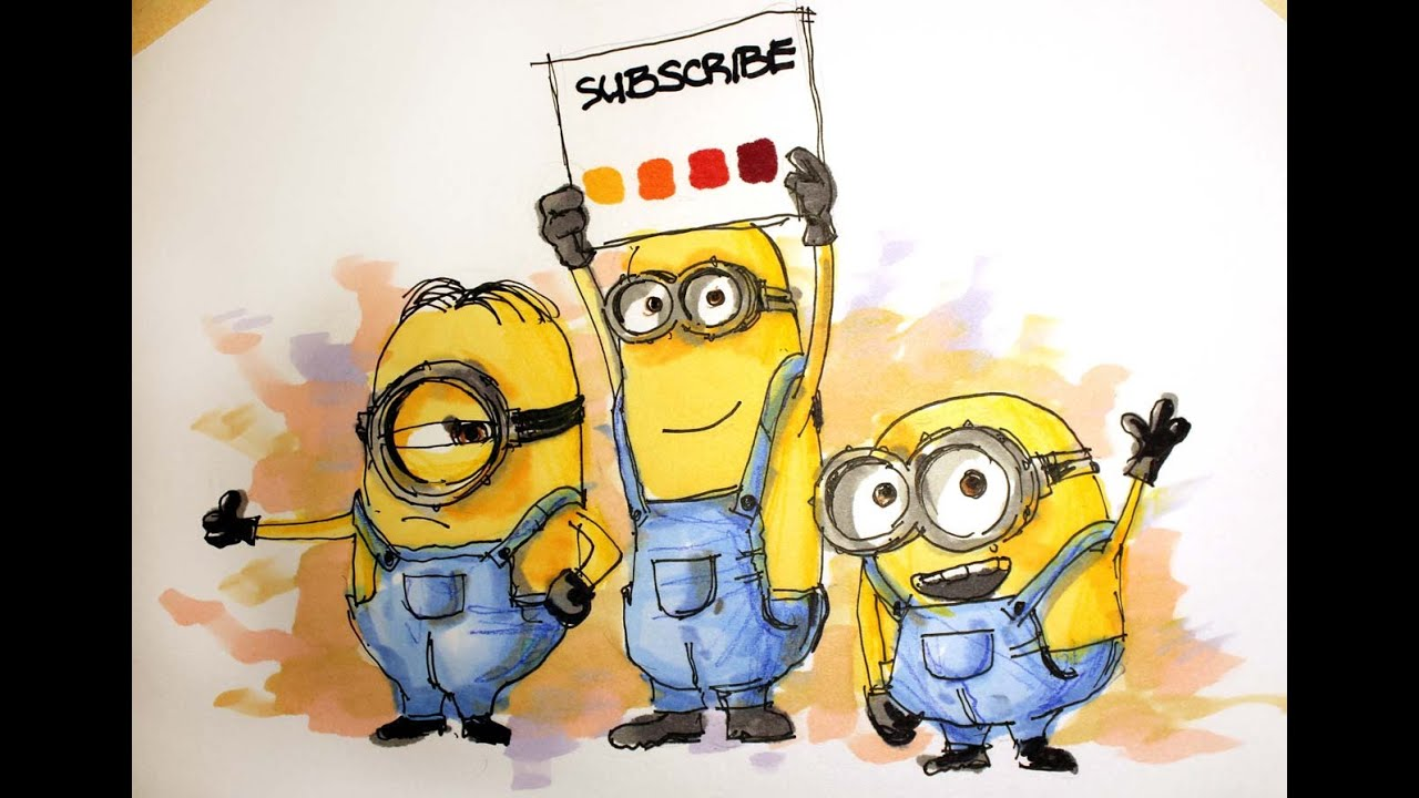 Cartoon Series Minions Time Lapse Drawing