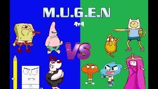 M. U. G. E. N 4v4 - Nickelodeon-Team vs. Team-Cartoon Network (KI-Kampf)