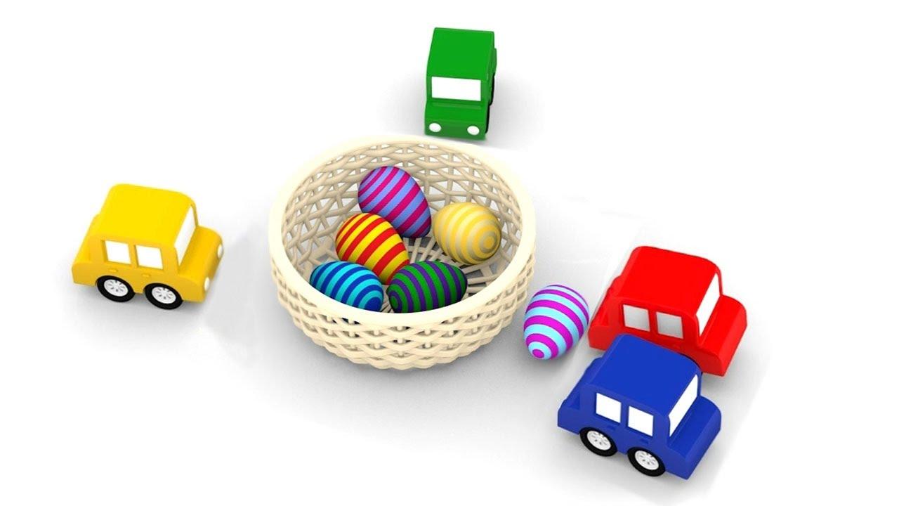 Cartoni animati per bambini macchinine colorate e le uova