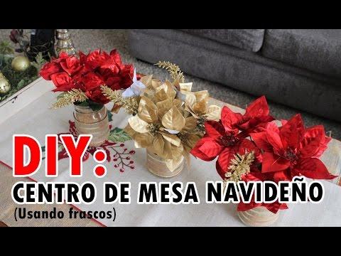 Centro de mesa navideño facil  frascos